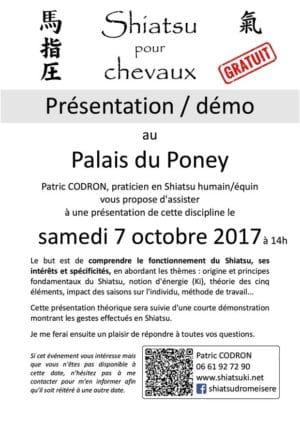 Affiche démonstration Shiatsu équin - Palais du Poney - 07 10 2017